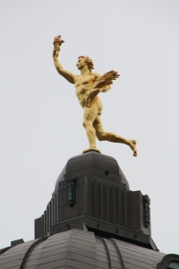 Golden statue atop the Manitoba Capital building.