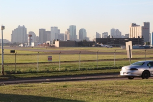 The view of downtown Edmonton from the train station - that's the airport across the road.
